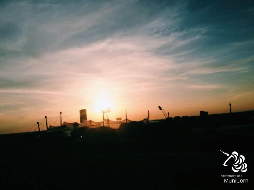 sunset olympia lake munich