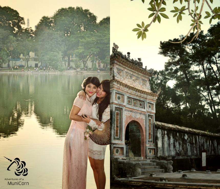 Mädchen posieren für Fotografen in Hanoi - antique Überreste der präkolonialen kaiserlichen Zeit