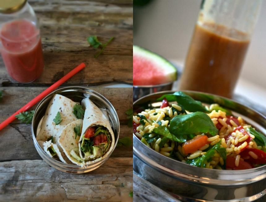 Weitere Varianten von Wraps und Reissalat mit frischen Kräutern, Gemüse und verschiedenen Smoothies dazu - Wassermelone als Zischensnack