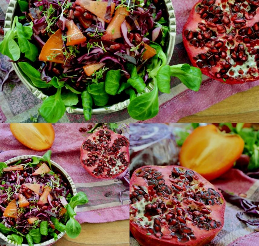 Weihnachtsmenü Vegan.Vorspeise Fürs Weihnachtsmenü Rotkraut Salat Mit Kaki Und