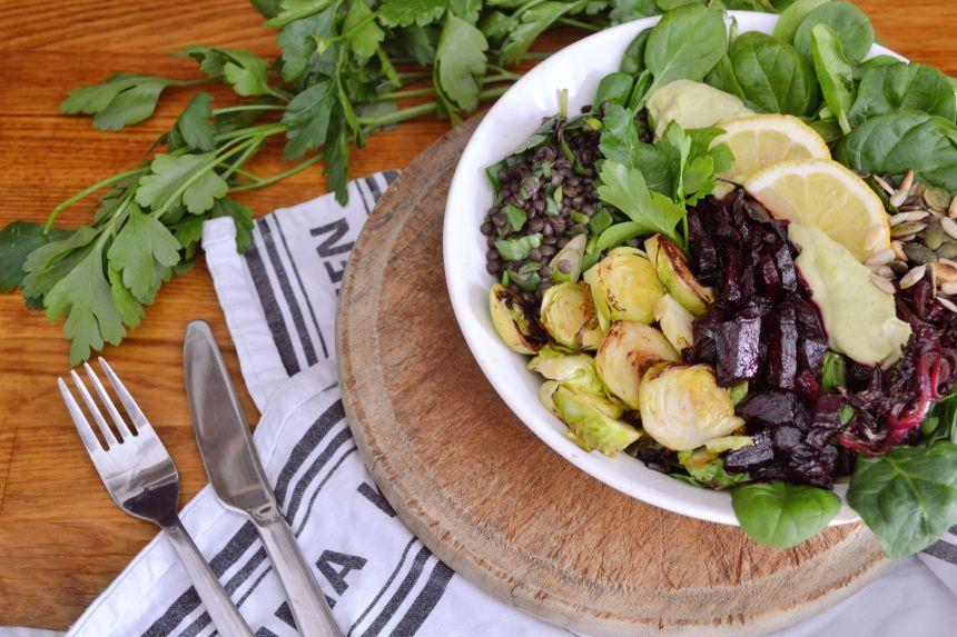 rosenkohl angebraten salat topping