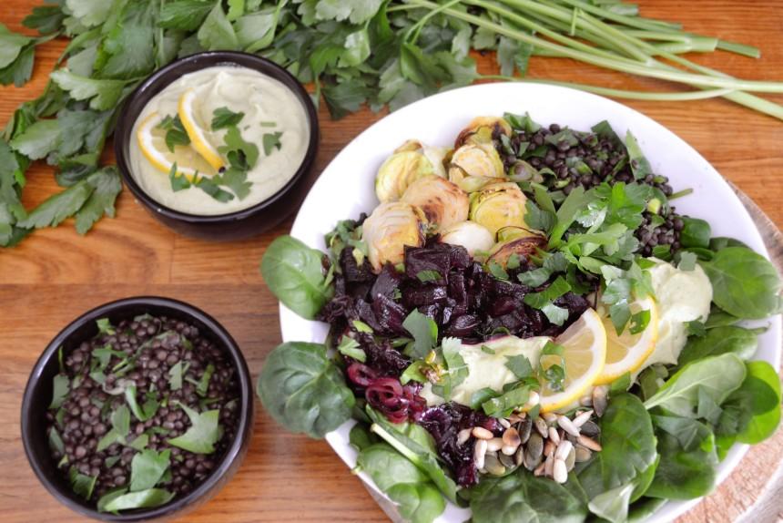 veganer wintersalat cremiger dip