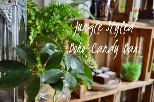 jungle styled boho candy bar