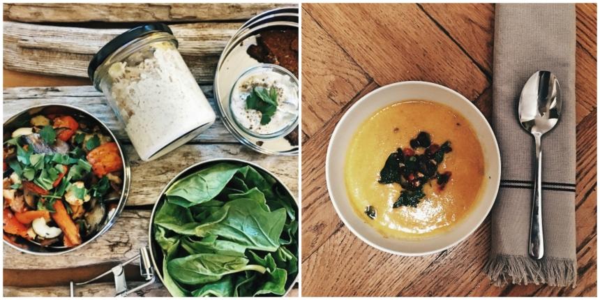 Tag 3: Das restliche Ofengemüse, Spinatsalat und Dinkecracker. Abend rote Linsensuppe mit Topping aus Haselnüssen und getrockneten Tomaten